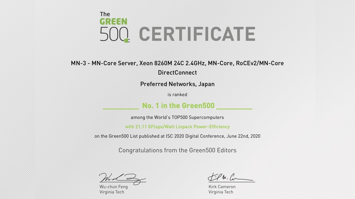 MN-3 Tops Green500 List of World's Most Energy-Efficient Supercomputers