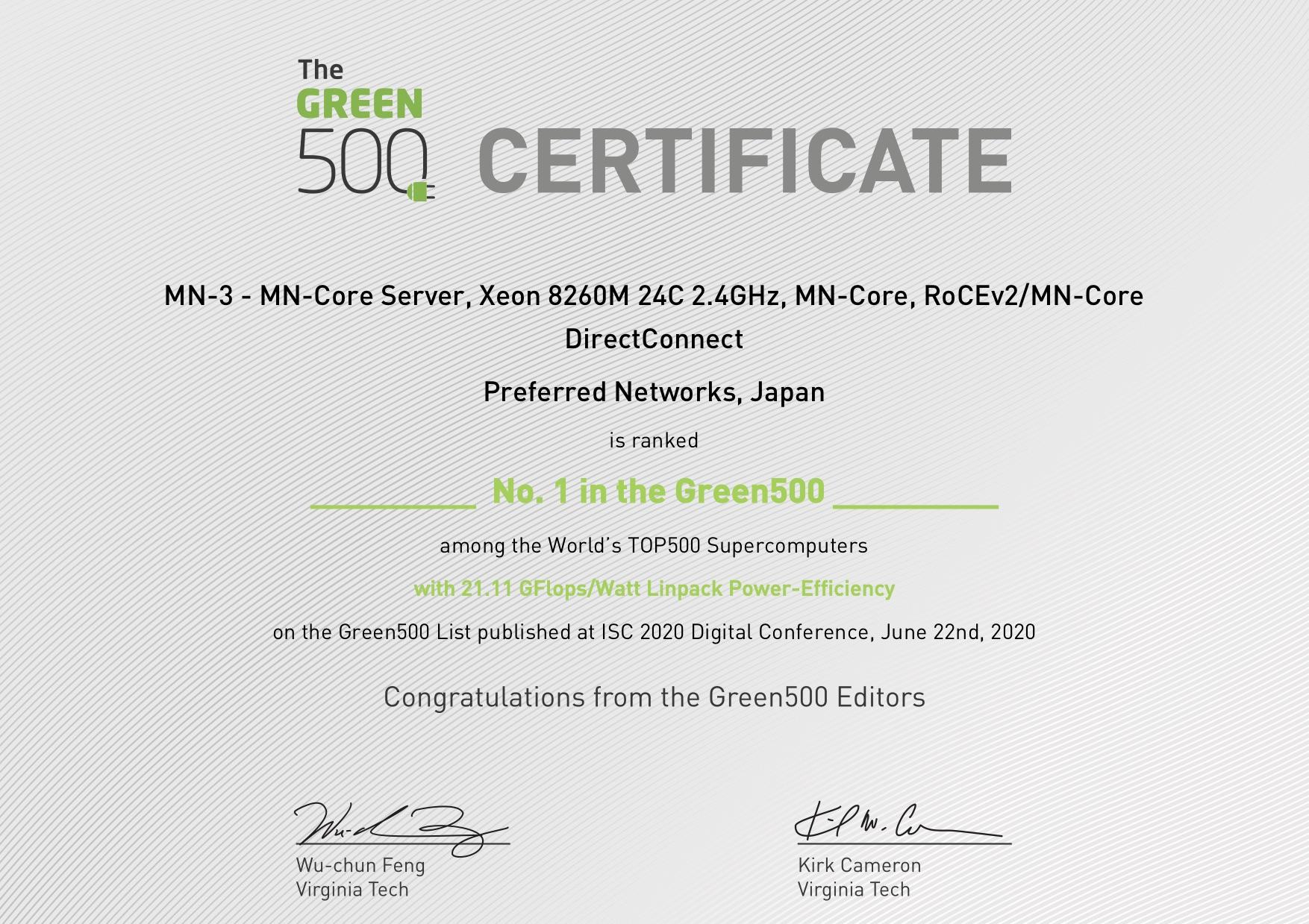 Green500 No.1の証書