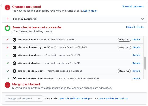 GitHub上のプルリクエストのページから確認できる画面。CIが報告する典型的なエラーが示されています。`checks` にはコードのフォーマットや型ヒントのチェックが含まれており、通常は簡単に対処することができます。