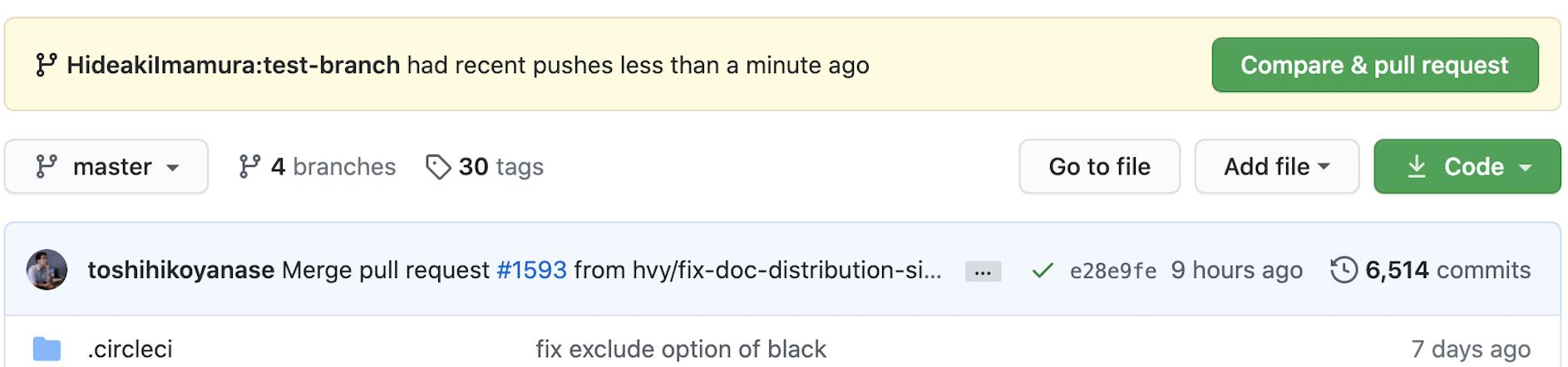 変更をpushした直後のOptunaのGitHubページの例。