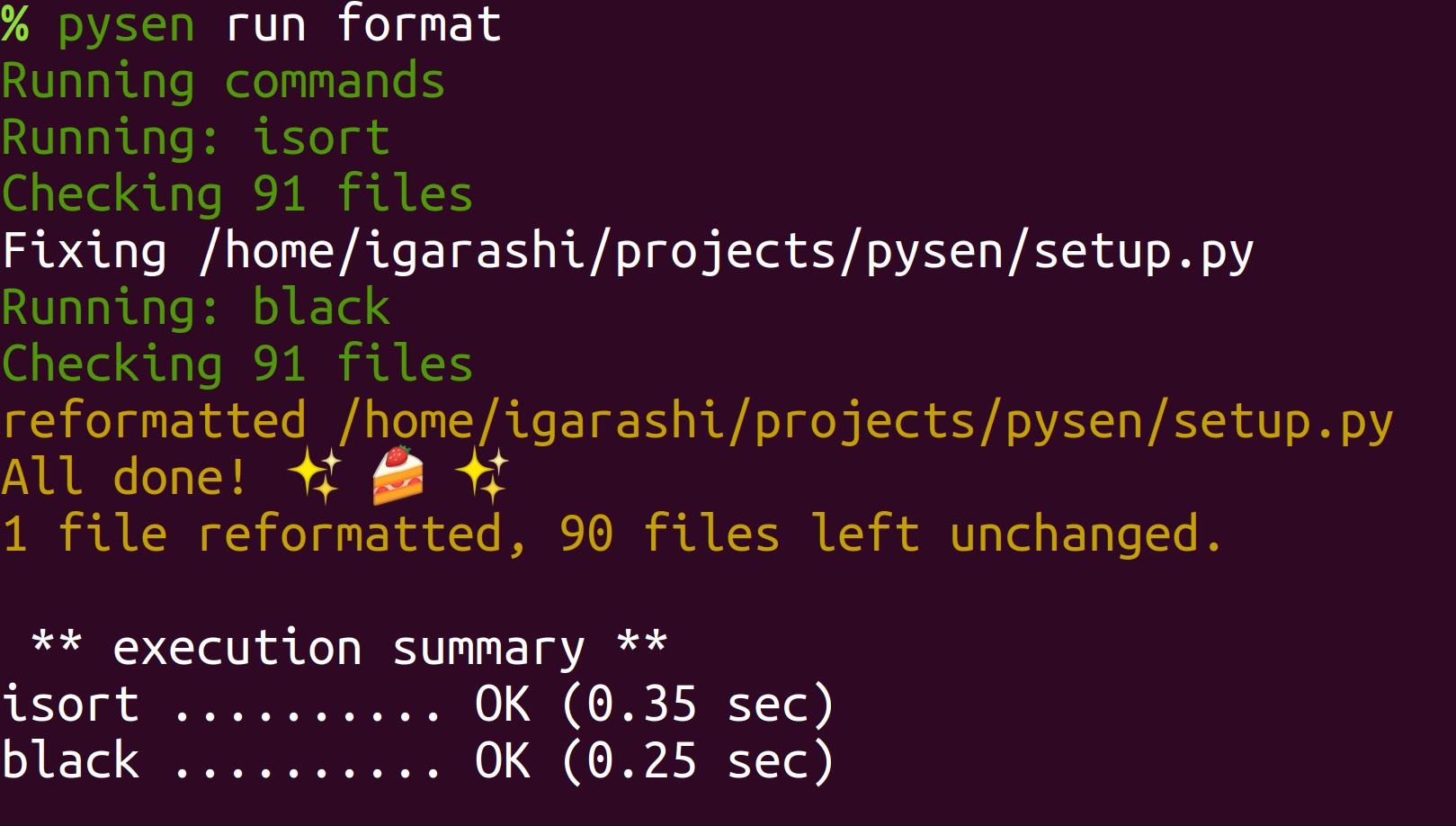 pysen run format